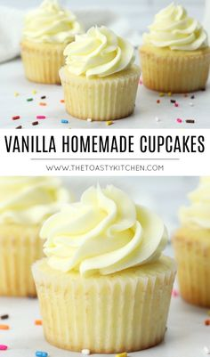 Vanilla Homemade Cupcakes by The Toasty Kitchen – Cupcakes 2020 Homemade Vanilla Cupcakes, Homemade Cupcake Recipes, Moist Vanilla Cupcakes, Cupcake Recipes For Kids, Cupcake Recipes From Scratch, Homemade Cakes, Baking Recipes, Dessert Recipes, Simple Cupcake Recipe