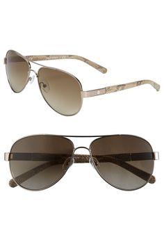 e97eb75b3e1da Tory Burch 57mm Metal Aviator Sunglasses with Resin Temples
