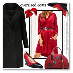 """Work Wear :: Chic Oversized Coats"" by jecakns ❤ liked on Polyvore featuring WorkWear, dress, reddress, oversizedcoats and zaful"