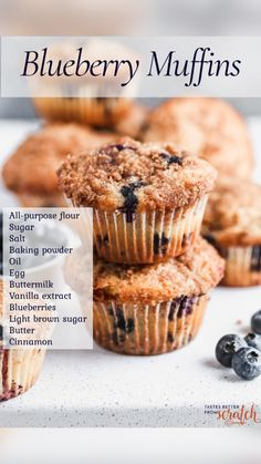 No Bake Desserts, Just Desserts, Delicious Desserts, Dessert Recipes, Yummy Food, Best Blueberry Muffins, Blueberry Cobbler, Blue Berry Muffins, Cupcakes