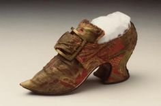 Buckle shoe, women's, silk brocade / leather / hessian, with buckle, gilded metal, maker unknown, England, c. 1735-1740 / date unknown - Powerhouse Museum Collection