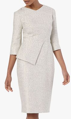 As seen on Kate Middleton - Made from cotton-blend tweed with a subtle shimmer finish, this Eaton dress offers a clean, elegant cut that's perfect for smart events and special occasions. With a flattering half-peplum detail, it features an exposed gold-tone back zip and elegant elbow-length sleeves perfectly balancing the tailored shape. The Fold London Eaton Tweed Dress for Mother of the Bride. Mother of the Bride outfit inspiration. Best dresses for Mother of the Bride. #motherofthebride