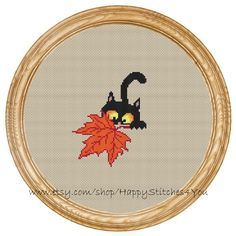 Cross Stitch Pattern PDF cat with maple leaf by HappyStitches4You