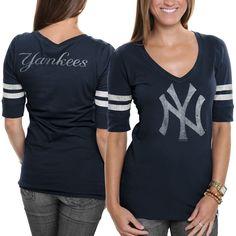 '47 Brand New York Yankees Women's Flanker Stripe V-Neck T-Shirt - Navy Blue