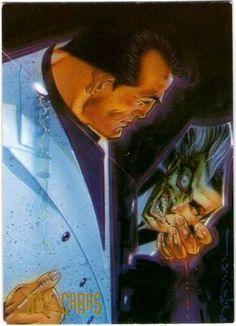 92-Dos- Caras  Cuando el acido quemo la mitad de su cara, la doble personalidad, por mucho tiempo ausente, del Fiscal de Distrito Harvey Dent- que fue resultado del abuso de su padre- resurgió. Basando cada decisión en un volado con su dólar de plata de dos caras, la obsesión del Dos-Caras con la dualidad lo hace doblemente mortífero