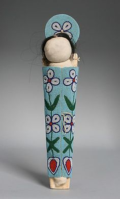 Antique Native American Indian Beaded Cradle Board Doll / Plateau-1940's