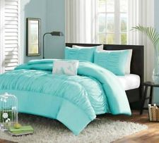 Girls Teen Sky Blue Songbird Ruched Comforter Sham Pillow Bedding Set Twin