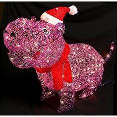 Purple Hippopotamus For Christmas
