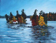 Melissa Jean, Honeymoon Island,  Acrylic on Canvas 11 X 14 in. #CanadianArt #LakeOfTheWoods $200.00