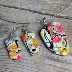 Pendant Necklace Earrings Set Polymer Clay. via Etsy. By Karen Weston