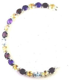 925 SOLID STERLING SILVER NATURAL GARNET CITRINE BT 6*8 BRACELET 7.5 IN LONG  #SilvexStore #Tennis