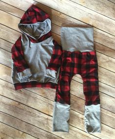 Plaid Maxaloones and Hoodie set by MMZClothing on Etsy