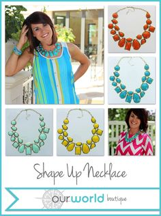 Shape Up! This cute necklace is made up lots of different shapes.  It's available in 4 colors and is only $9.99!