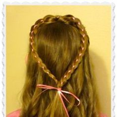 Valentine's Day Hairstyles, 4 Strand Ribbon Braid Heart