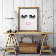 50% OFF SALE Lips & Lashes Makeup Print by JessicaMichaelPrints