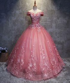 off shoulder pink lace appliques A-line prom dress, PD1454