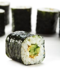 A simple, yet satisfying sushi roll: the Cucumber Roll. Learn how to make all of your favorite vegetarian sushi rolls here.