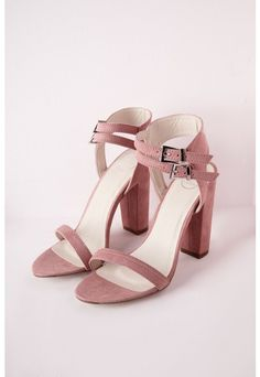 Double Strap Block Heeled Sandals Rose Faux Suede - Shoes - Heeled Sandals - Missguided