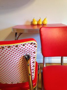 Set of Two Refurbished Red Vinyl Polka Dot Yellow by HUEisit