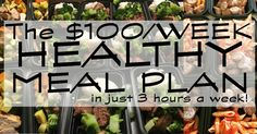This healthy meal plan costs less than $100/week to feed our family of four and all meals can be made and frozen in less than 3 hours!