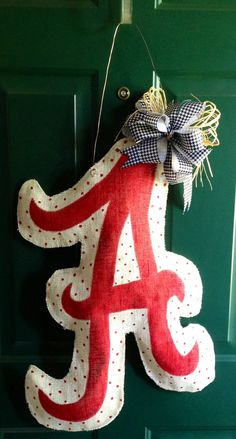 Burlap Alabama door hanger with houndstooth bow by emrikatelyn