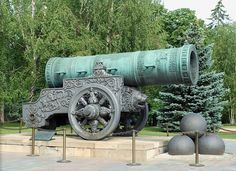 The Tsar Cannon is a large, 5.94 metres (19.5 ft) long cannon on display on the grounds of the Moscow Kremlin. It was cast in 1586 in Moscow, by the Russian master bronze caster Andrey Chokhov. Mostly of symbolic impact, it was never used in a war. However the cannon bears traces of at least one firing. Per the Guinness Book of Records it is the largest bombard by caliber in the world, and it is a major tourist attraction in the ensemble of the Moscow Kremlin.