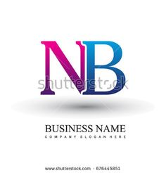 initial letter logo NB colored red and blue, Vector logo design template elements for your business or company identity