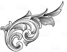 Growing Scroll royalty-free growing scroll stock vector art & more images of angle Bild Tattoos, Mom Tattoos, Sleeve Tattoos, Baroque Design, Filigree Design, Filigrana Tattoo, Ornament Drawing, Metal Engraving, Carving Designs