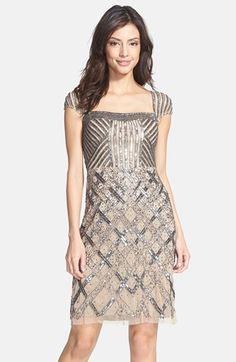 Adrianna Papell Bead Embellished Cocktail Dress | Nordstrom ----- rehearsal dinner dress PERFECT!!!!!!