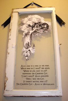 VINTAGE Original Cottage Framed Window with Alice and Cheshire Cat in Alice In Wonderland Theme