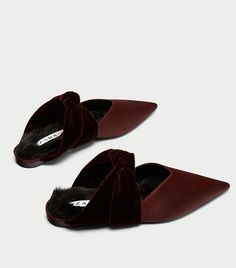Velvet Backless Shoes with Bow $50
