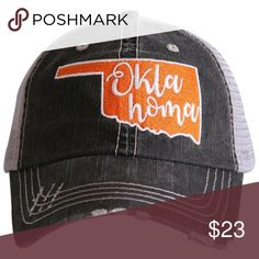 233f5c2feaf Oklahoma State Baseball Trucker Hat ~ Adorable trucker caps are embroidered  and have curved bill distressed cap gives it a worn look adjustable tab  with ...