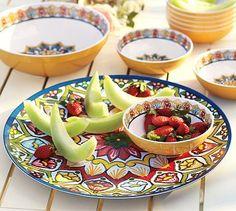 Love these new summer dishes!  Talavera Melamine Platter #potterybarn
