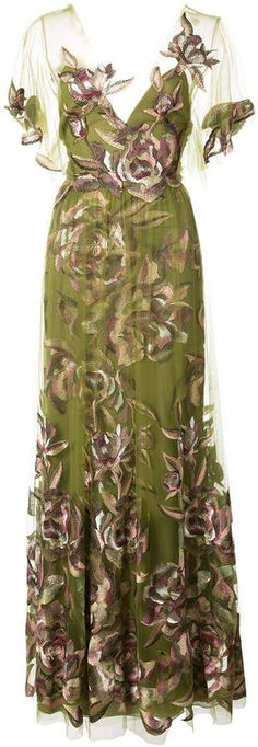 Marchesa Notte floaty floral evening dress