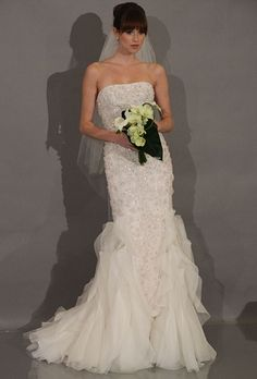 THEIA - FALL 2012 Style strapless beaded mermaid wedding dress with a  layered organza skirt e18204f1422d