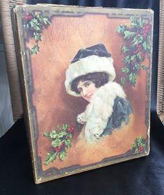 Antique Victorian Era Store Display Box Woman Ermine Mink Wrap Christmas Holly | eBay