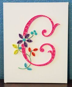 """Letter """"C"""" quilling on canvas"""