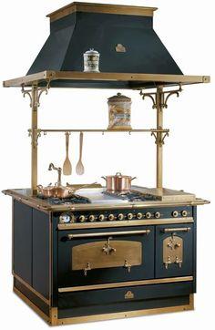 Italian stove [ http://www.appliancist.com/vintage_retro_appliances/antique-appliances-by-restart-srl-modern-technology-classic-italian.html ] #italian #stove #hood