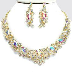Vintage Style Fabulous GOLD & CRYSTAL AB Rhinestone Costume Necklace/Earring Set #SophiaCollection