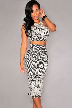 Black White Print Two Pieces Skirt Set