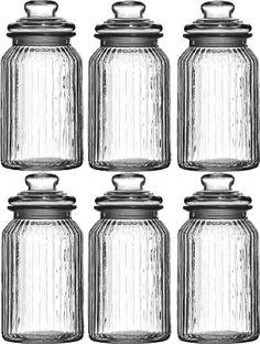 Set Of 6 1300ml Large New Vintage Glass Kitchen Tea Coffee Sugar Food Sweet Storage Jars