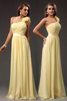 Gorgeous A-line Ruffle One Shoulder Chiffon Long Bridesmaid Dress.                  Different colour