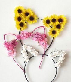 Flower cat ears headband floral cat ears cat ears by SoCalBySteph Cat Ears Headband, Diy Headband, Floral Headbands, Ear Headbands, Headband Flowers, Daisy Chain, Festival Wear, Visual Kei, Diy Hairstyles