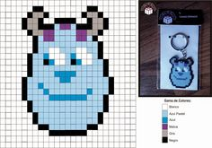 Sulley Monsters Inc. Hama perler pattern - Diy Downloads