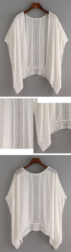 Lace Trimmed Kimono - White Pretty Outfits, Cute Outfits, Up Girl, Sewing Clothes, Pulls, Fashion Outfits, Womens Fashion, Passion For Fashion, What To Wear