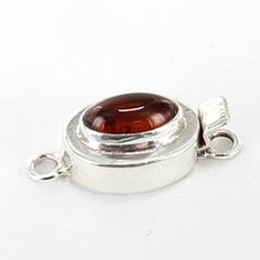 BALTIC AMBER STERLING CLASP OVAL 10x6.5mm from New World Gems