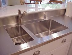 Integrated Kitchen Sink And Countertop More Stainless Steel Kitchen With Stainless Steel Integrated Kitchen Sink Countertop Kitchen Sink Countertop, Stainless Steel Island, Refinish Countertops, Outdoor Kitchen Countertops, Stainless Steel Countertops, Kitchen Benches, Stainless Steel Kitchen, Kitchen Flooring, Kitchen Sinks