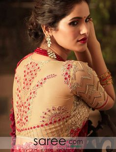 bfb206bac503f1 Lace Layered Embroidered Blouse Saree Blouse Patterns