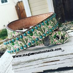 Magics Custom Tack White and green cactus print western belt with turquoise cabachons  Www.magicscustomtack.com Magicscustomtack@hotmail.com