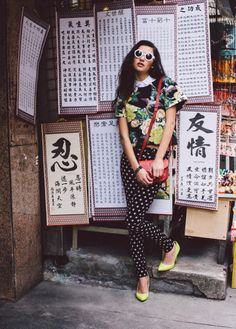 edgy floral and prints mix with neon in streets of Hong Kong